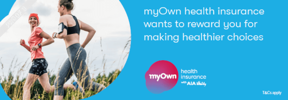 myOwn health insurance banner showing two woman running